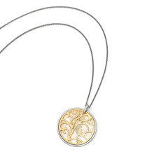 Mother of Pearl with 2 inch Extender Necklace 16 Inch Sterling Silver Gold-tone QLF579-16