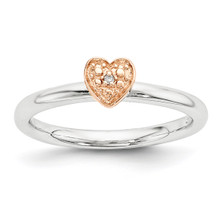 Rose Gold-plated Diamond Heart Ring Sterling Silver MPN: QSK1866 UPC: 886774377070 by Stackable Expressions