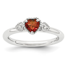 Garnet & Diamond Hearts Ring Sterling Silver MPN: QSK1868 UPC: 886774377193 by Stackable Expressions