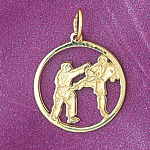 Karate Pendant Necklace Charm Bracelet in Gold or Silver 6317