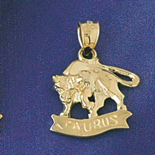 Taurus Bull Zodiac Pendant Necklace Charm Bracelet in Gold or Silver 9226
