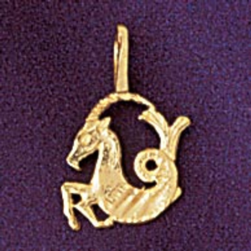 Capricorn Goat Zodiac Pendant Necklace Charm Bracelet in Gold or Silver 9329