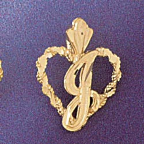 Initial J Heart Pendant Necklace Charm Bracelet in Gold or Silver 9579j