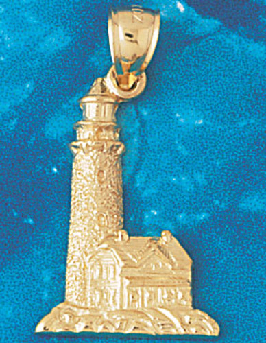 Lighthouse Pendant Necklace Charm Bracelet in Gold or Silver 1446