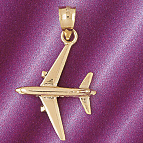 Airplane Jet Pendant Necklace Charm Bracelet in Gold or Silver 4417