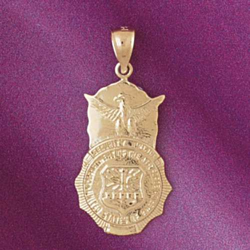 Police Badge Pendant Necklace Charm Bracelet in Gold or Silver 4512