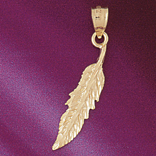 Indian Feather Pendant Necklace Charm Bracelet in Gold or Silver 5207
