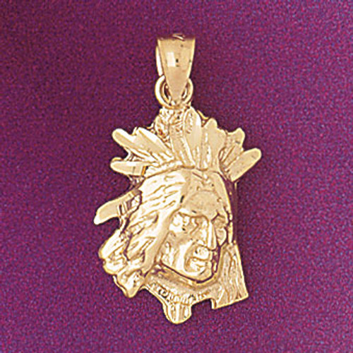 Native American Indian Head Pendant Necklace Charm Bracelet in Gold or Silver 5275