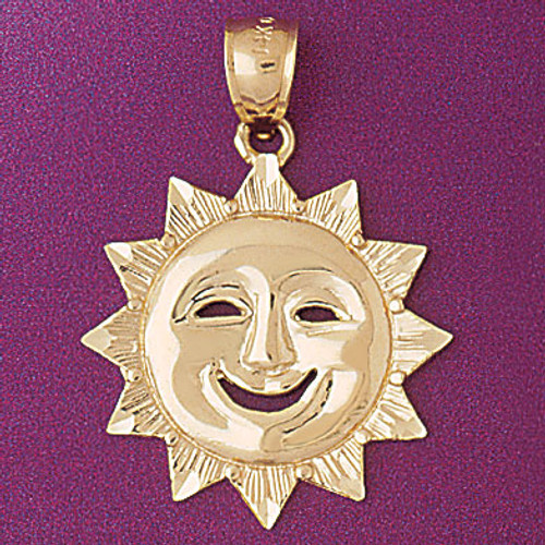 Sun Pendant Necklace Charm Bracelet in Gold or Silver 5651