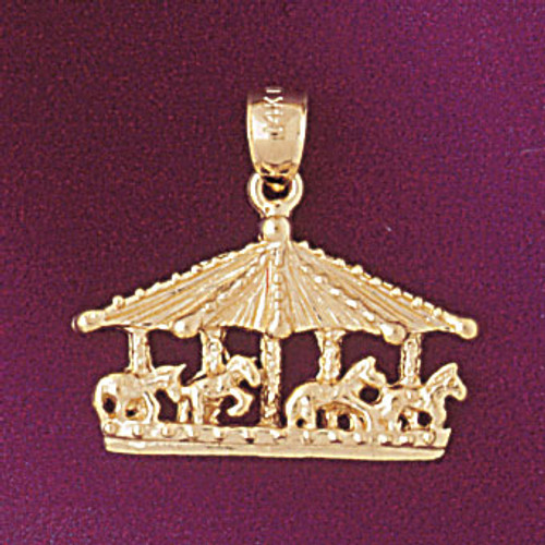 Carousel Horses Pendant Necklace Charm Bracelet in Gold or Silver 5981