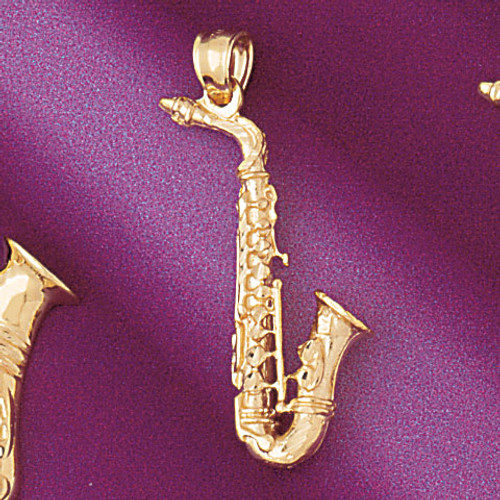 Saxophone Pendant Necklace Charm Bracelet in Gold or Silver 6159