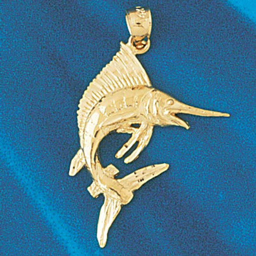Marlin Sailfish Pendant Necklace Charm Bracelet in Gold or Silver 518