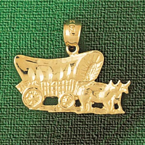 Carriage With Horse Pendant Necklace Charm Bracelet in Gold or Silver 1850