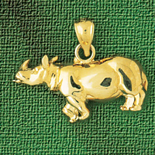 Rhino Pendant Necklace Charm Bracelet in Gold or Silver 2596