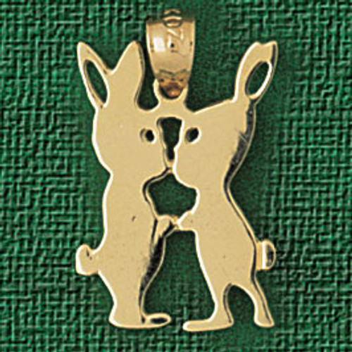 Kissing Rabbits Pendant Necklace Charm Bracelet in Gold or Silver 2739