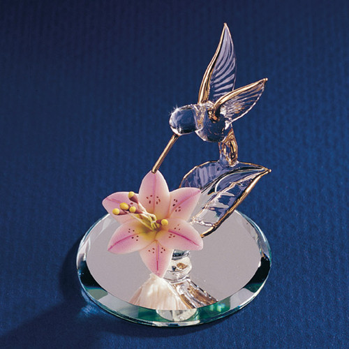Hummingbird & Lily Glass Figurine GL3736