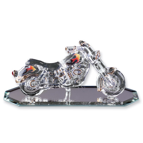Motorcycle with Flames Glass Figurine GL3772