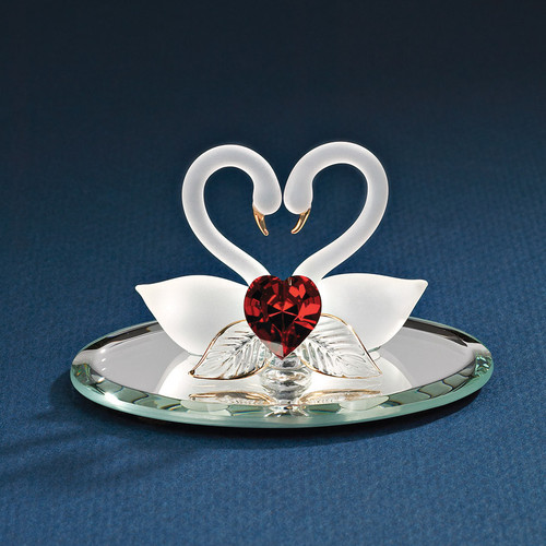 Swan Pair with Red Heart Glass Figurine GL852