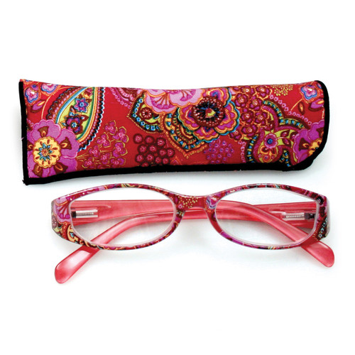 Red With Flower Print 2.75 Magnification Reading Glasses GM10468