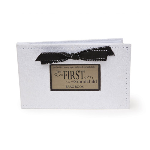 First Grandchild White Faux Suede (32-4x6) Brag Book GM11410