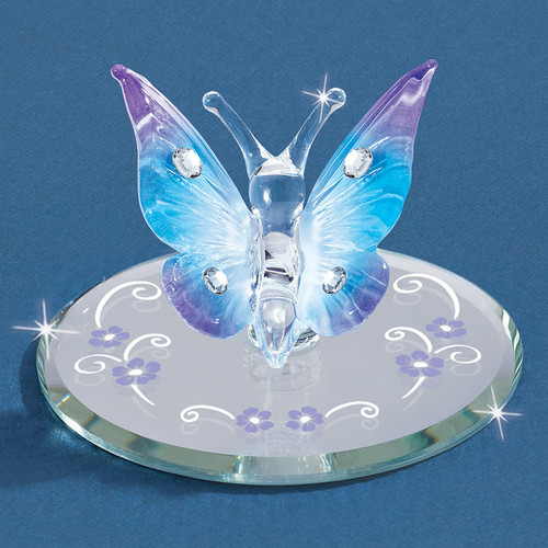 Blue Butterfly with Crystals Glass Figurine GM6691