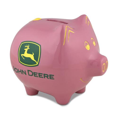 Polyresin John Deere Logo Pink Piggy Bank GM8494