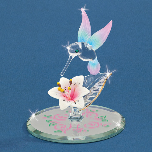 Cotton Candy Hummingbird with Flower Glass Figurine GM9421