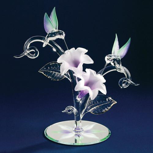 Hummingbirds & Flowers Glass Figurine GP1130