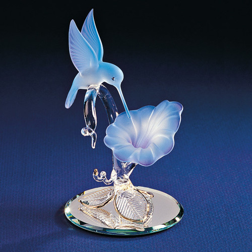 Hummingbird & Blue Flower Glass Figurine GP1131