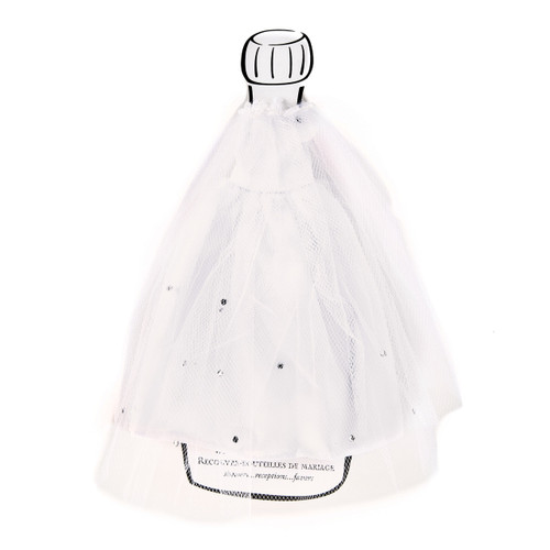 White Satin and Tulle Bride Wine Bottle Cover GP6812