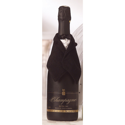 Black Satin Groom Wine Bottle Cover GP6813