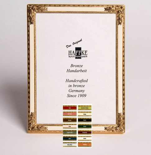 Haffke Bronze Enamel Picture Frame with Rose 8 x 10 Inch
