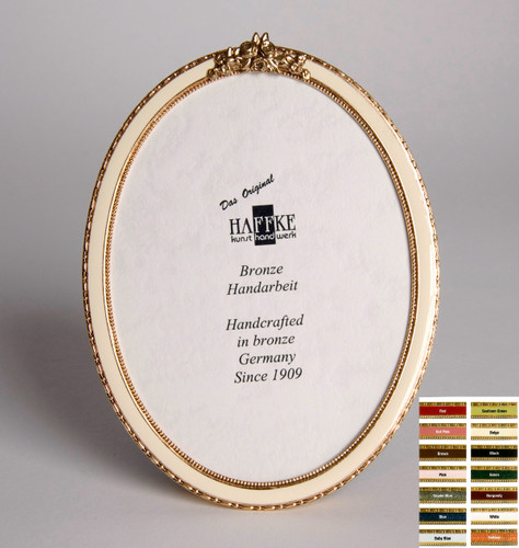 Haffke Bronze Enamel Oval Picture Frame with Rose 2.5 x 3.5 Inch