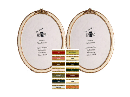 Haffke Bronze Enamel Oval Double Picture Frame with Rose 2.5 x 3.5 Inch