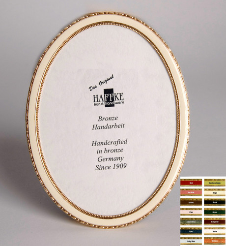 Haffke Bronze Enamel Oval Picture Frame without Rose 2.5 x 3.5 Inch