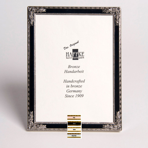 Haffke Silver Enamel Picture Frame with Rose 4 x 6 Inch