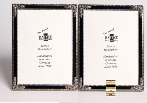 Haffke Silver Enamel Double Picture Frame with Rose 2.5 x 3.5 Inch