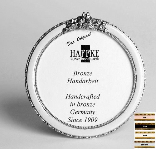 Haffke Silver Enamel Round Picture Frame with Rose 3 Inch