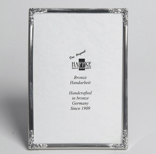 Haffke Silver with Rose Picture Frame 4 x 6 Inch