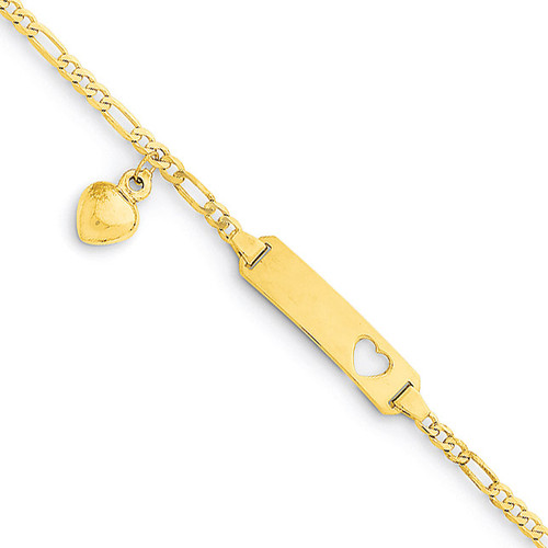 Figaro Link with Dangling Heart Baby Child ID Bracelet 14k Gold Engraveable BID54-6