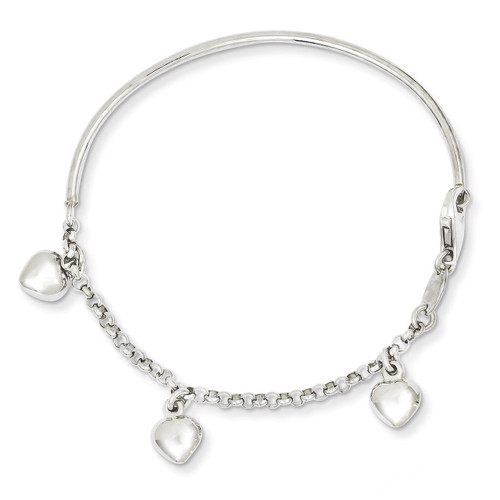 Dangle Heart Baby Bracelet 14k White Gold Polished BID91-6