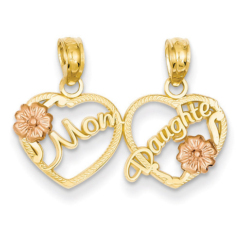 Mom - Daughter Breakable Hearts Pendant 14k Two-tone Gold K1714