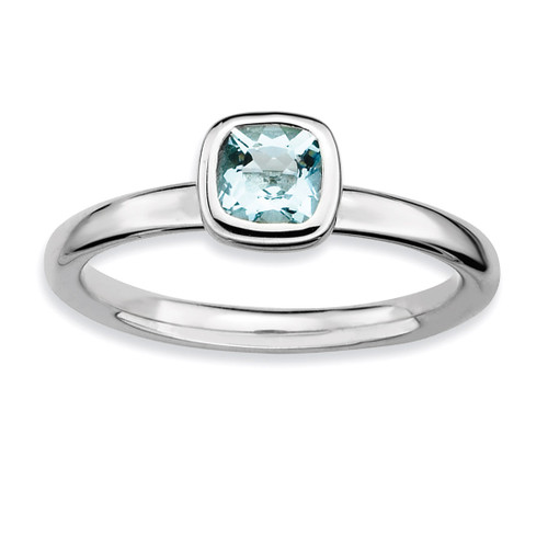 Stackable Expressions Cushion Cut Aquamarine Ring Sterling Silver QSK448-10