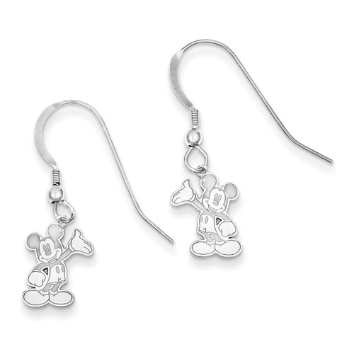 Disney Waving Mickey Dangle Wire Earrings Sterling Silver WD106SS