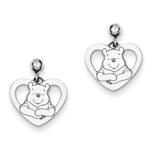 Disney Winnie the Pooh Heart Dangle Post Earrings Sterling Silver WD166SS