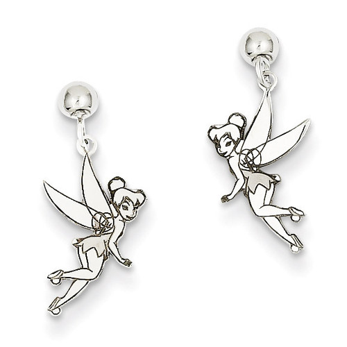 Disney Tinker Bell Dangle Post Earrings Sterling Silver WD255SS