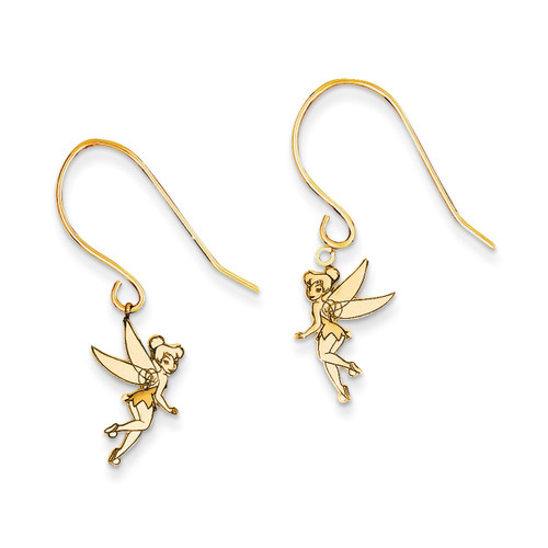 Disney Tinker Bell Dangle Wire Earrings 14k Gold WD256Y