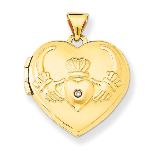 Diamond Claddagh Heart Locket 14k Gold XL80