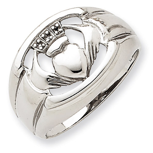 .01ct. Diamond & Onyx Men's Claddagh Ring Mounting 14k White Gold Y4143