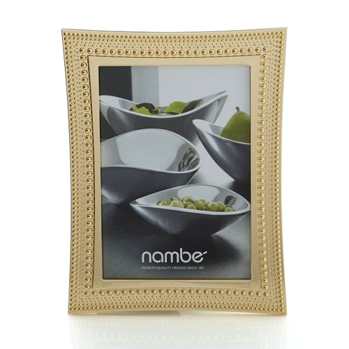 Nambe Beaded Gold Picture Frame  5 x 7 by Maureen Mctamney